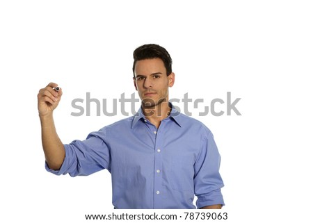 Man stands in front of white background and is holding a pen in his hand