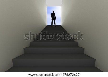 Man stands on top of staircase, 3d Illustration