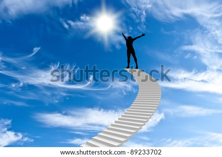 man stands on top of Stairs and extends to the sun