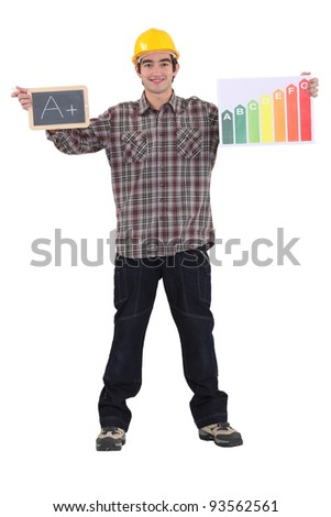 Man stood with chalk board and energy rating poster