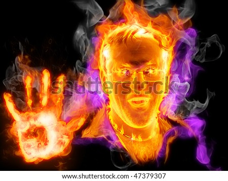 Man stopping flame