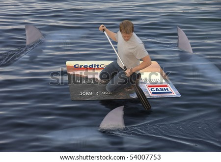 Man stranded on a raft made of a huge credit card in the ocean while being circled by sharks - stock photo