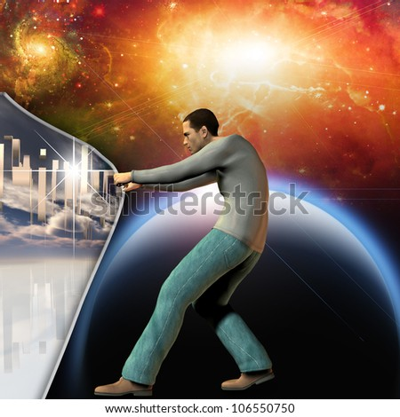 Man stretches space time to show power beneath