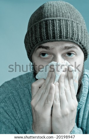 Man Suffering from Flu Fever