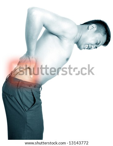 Man suffers from lower back pain.