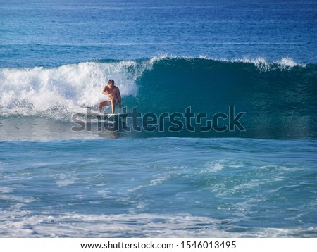 Man surfing in the wave. Glassy wave. #1546013495