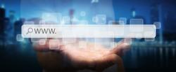 Man surfing on internet with digital tactile web address bar '3D rendering'