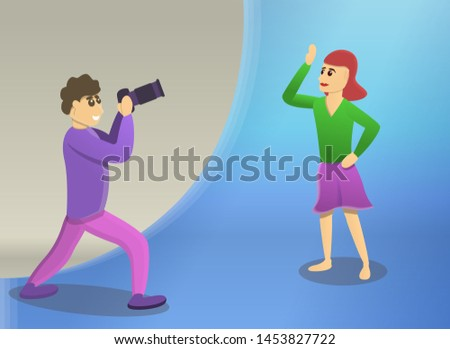 Man take photo session woman concept banner. Cartoon illustration of man take photo session woman concept banner for web design