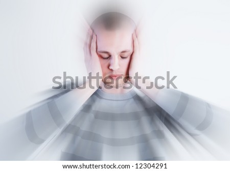 Man takes his head at white background