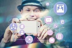 Man taking photo and uploading to social media, Ephemeral internet Illustration