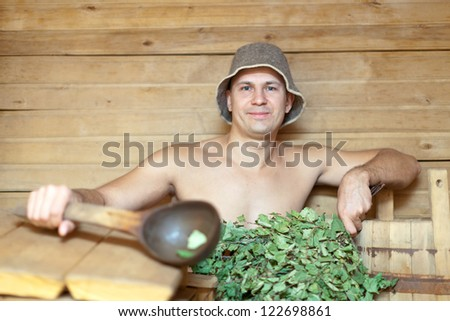 Man taking steam at sauna