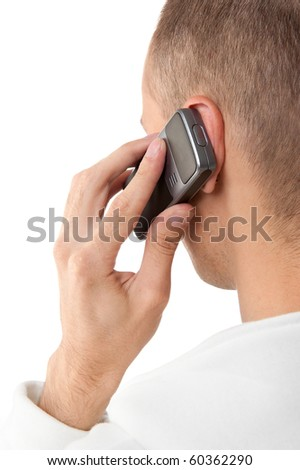 man talking on a mobile phone, isolated on white