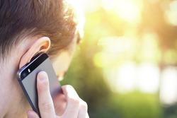 Man talking on the phone close up shot