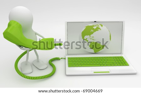 Man talking on the phone connected to Internet. 3D render.