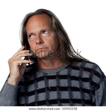 Man talking on the phone, isolated image
