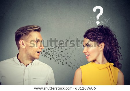Man talking to an attractive woman with question mark  #631289606