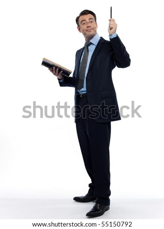man teacher professor historian teaching isolated studio on white backgroun - stock photo