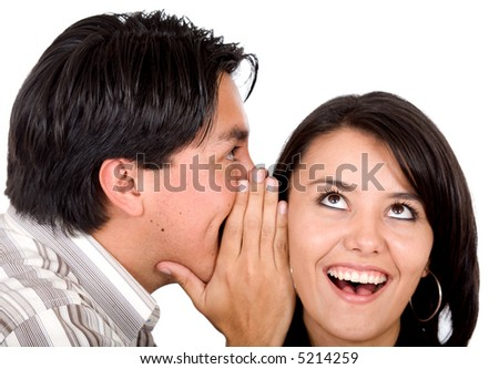 man telling a secret to a girl - she is looking surprised over a white background