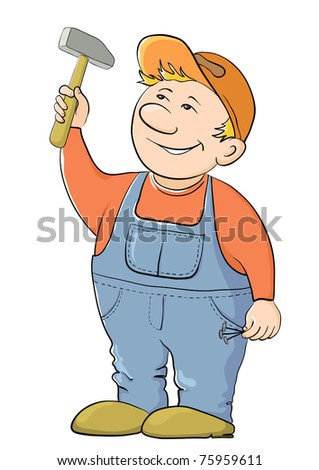 Man the worker in a cap and a uniform hammers in a nail