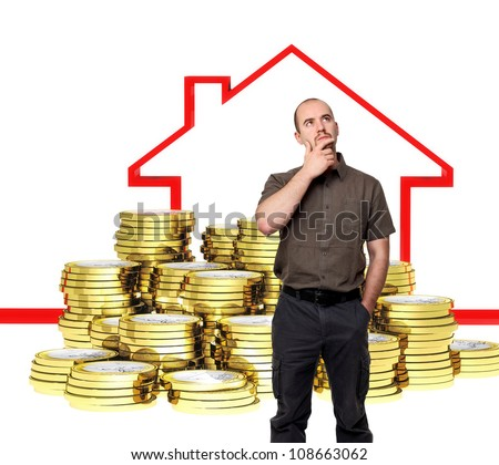 man think about buy house, 3d background