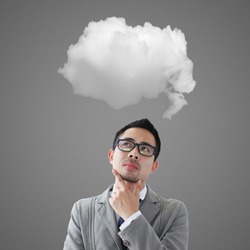 Man thinking and cloud over head