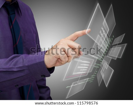 Man touch the screen for business data