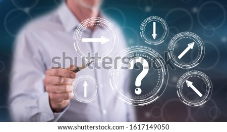 Man touching a choice concept on a touch screen with a pen