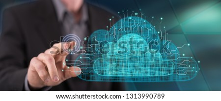 Man touching a cloud networking concept on a touch screen with his finger #1313990789