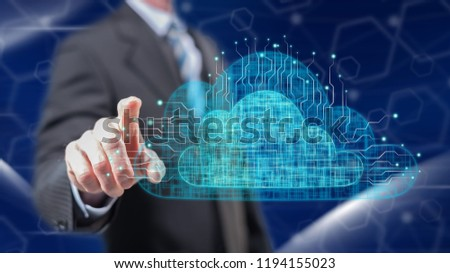 Man touching a cloud networking concept on a touch screen with his fingers #1194155023