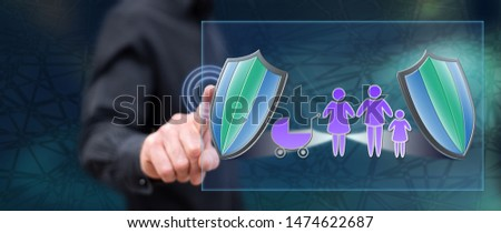 Man touching a family insurance concept on a touch screen with his finger