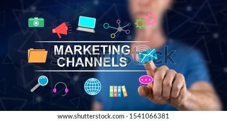 Man touching a marketing channels concept on a touch screen with his finger