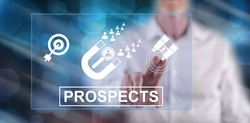 Man touching a prospects concept on a touch screen with his finger