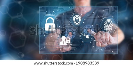 Man touching a sca concept on a touch screen with his fingers Stock foto ©