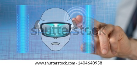 Man touching a virtual reality concept on a touch screen with his finger #1404640958