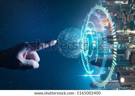 Man touching abstract global with wireless communication network on space background , abstract image visual, internet of things