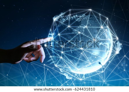 Man touching Abstract global with wireless communication network on space background , abstract image visual, internet of things #624431810