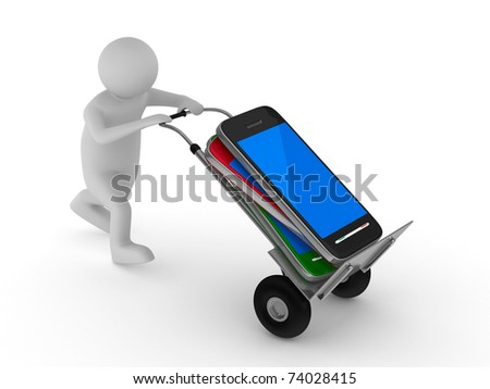 man transportation mobile phone. Isolated 3D image