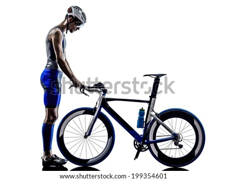 man triathlon iron man athlete in silhouette on white background