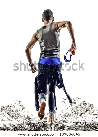 man triathlon iron man athlete swimmers swimmers running  in silhouettes on white background