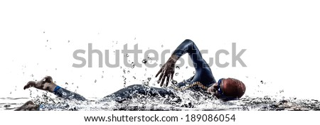 man triathlon iron man athlete swimmers swimming in silhouettes on white background