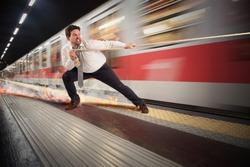 Man tries to stop the fast train