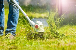 Man trimming fresh grass using brush cutter