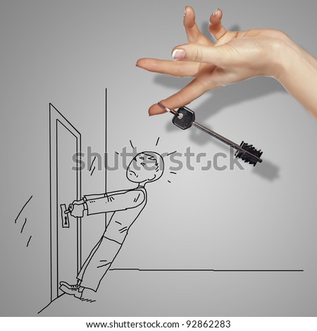 Man tryig to open a door with key