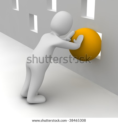 Man trying push orange ball through small hole. 3d rendered illustration.