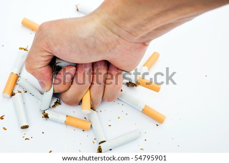 Man trying to give up smoking. - stock photo