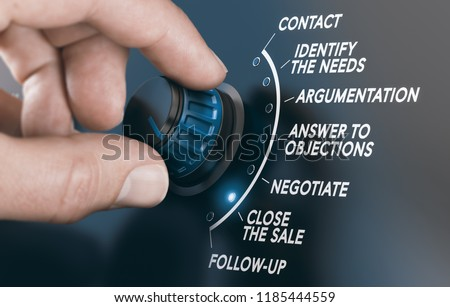 Man turning a button to follow a step by step sales guide. Composite image between a hand photography and a 3D background.