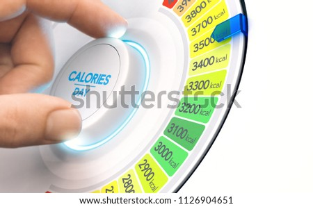 Man turning a calorie knob to increase daily intake level. High calories diet concept, Composite image between a hand photography and a 3D background.