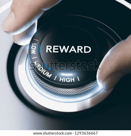 Man turning a knob with low, medium or high reward position. Concept image. Composite image between a hand photography and a 3D background. #1293636667