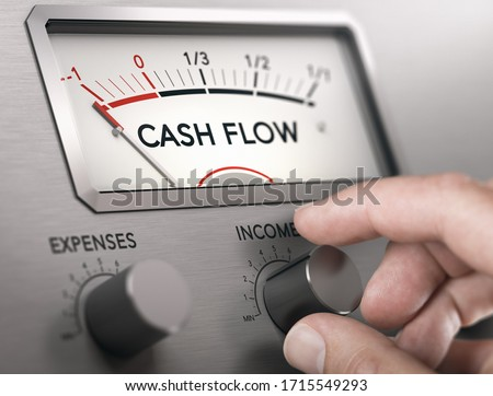 Photo of  Man turning knob to increase income and cash flow level. Composite image between a hand photography and a 3D background.