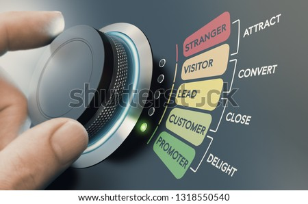 Man turning knob with different stages of sales process to convert strangers into promoters. Successful inbound marketing campaign concept.